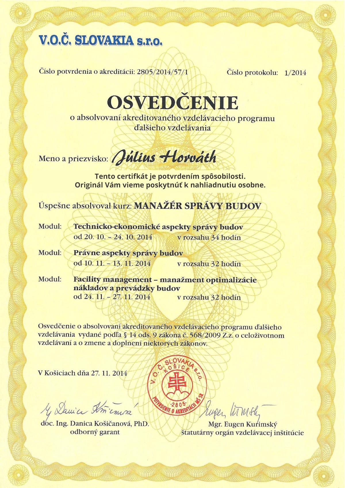 DHJ Grup s.r.o. - certifikát